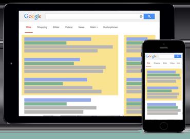 AdWords Werbeblöcke dominieren die Suchergebnisse. Der Anteil unebzahlter Treffer ist nur noch sehr gering.